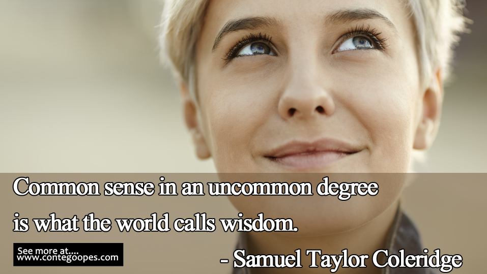 common sense is what the world calls wisdom