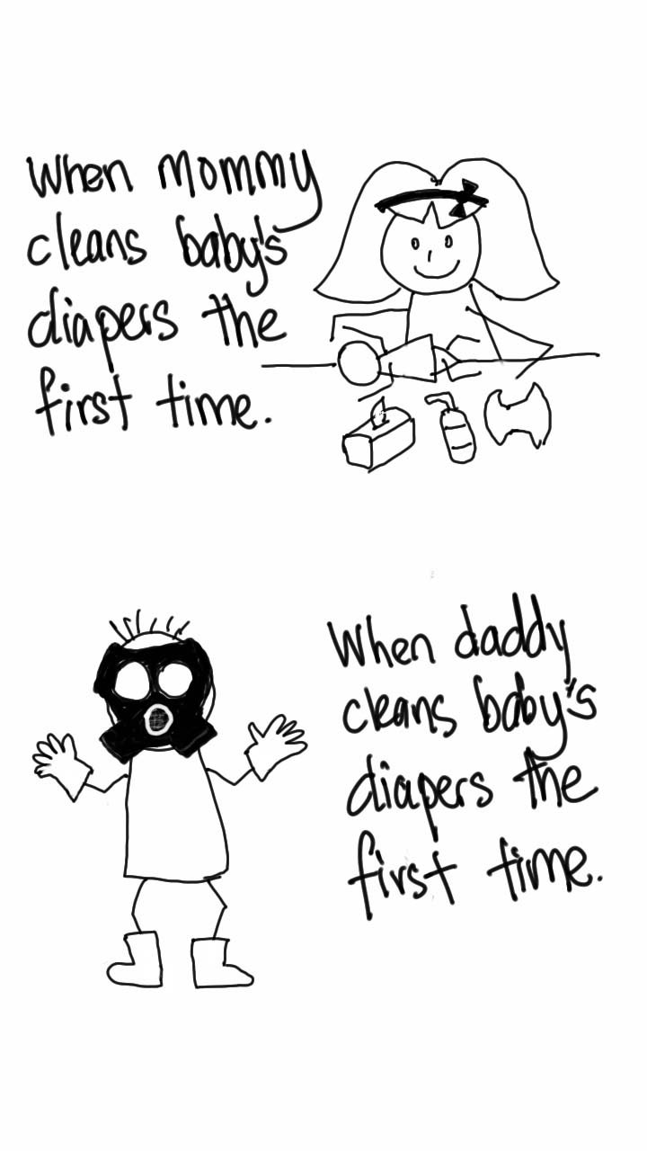 funny joke about new fathers changing diapers